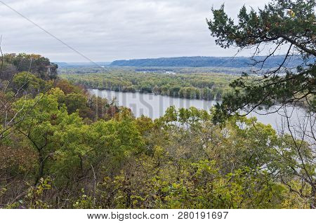 Overlooking Mississippi River From Effigy Mounds National Monument In Iowa And Wisconsin In Distance