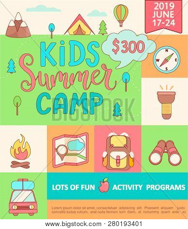 Banner For The Kids Summer Camp, Concept With Handdrawn Lettering, Camping And Travelling On Holiday