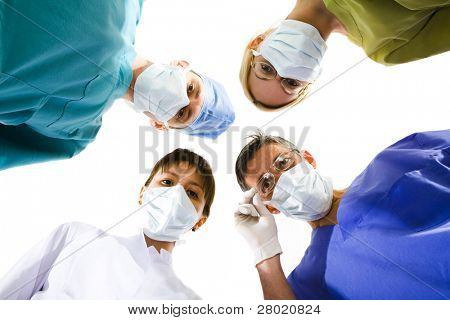 young successful medical team on the white