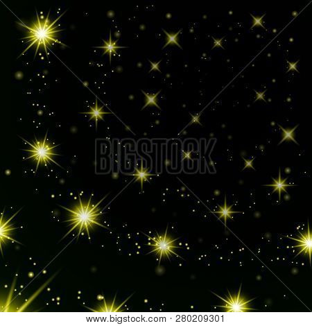Gold Stars Black Night Sky Background. Abstract Bokeh Glowing Space Design. Starry Milky Way. Galaxy