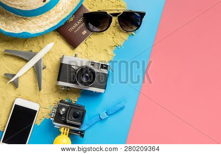 Summer Travel Fashion And Accessories Travel Top View Flatlay On Blue Pink Pastel