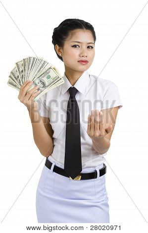 Businesswoman With A Lot Of Money