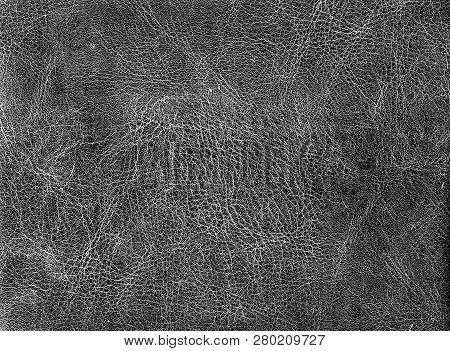 Black And White Weathered Leather Texture. Abstract Background And Texture For Design And Ideas