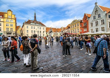 Tallinn, Estonia - September 9 2018: A Man Dressed As A Medieval Warrior Entertains Tourists In The