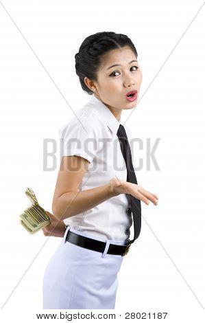 Woman Hiding Money