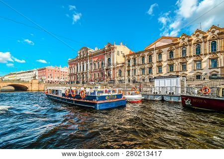 St. Petersburg, Russia - September 11 2018: Two Tour Boats Dock Before Cruising The Fontanka River I