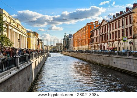 St. Petersburg, Russia - September 10 2018: Tourists Crowd The Square Of The Spilled Blood Cathedral
