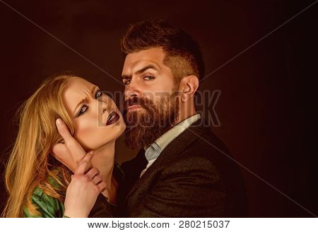 They Both Love Fashion. Intimate Couple In Fashion Clothing. Couple In Love. Bearded Man Hug Woman W