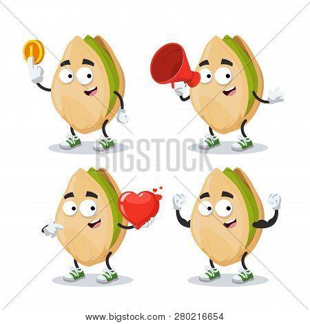 Set Of Cartoon Cracked Pistachio Nut Character Mascot