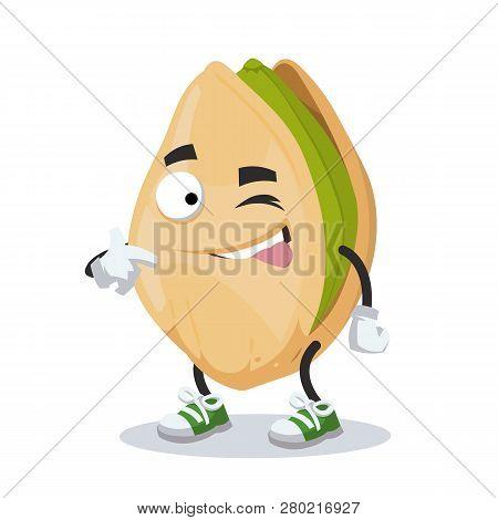 Cartoon Joyful Cracked Pistachio Nut Character Mascot Winks