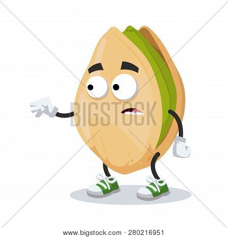 Cartoon Scared Cracked Pistachio Nut Mascot In Sneakers Isolated