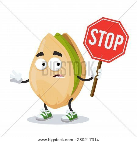 Cartoon Cracked Pistachio Nut Mascot With Tablet Stop In Hand
