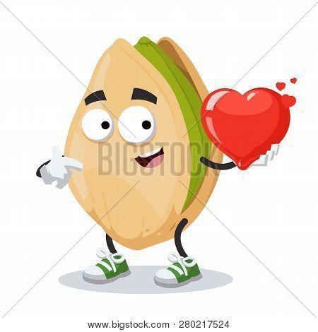 Cartoon Cracked Pistachio Nut Character Mascot Keeps The Heart
