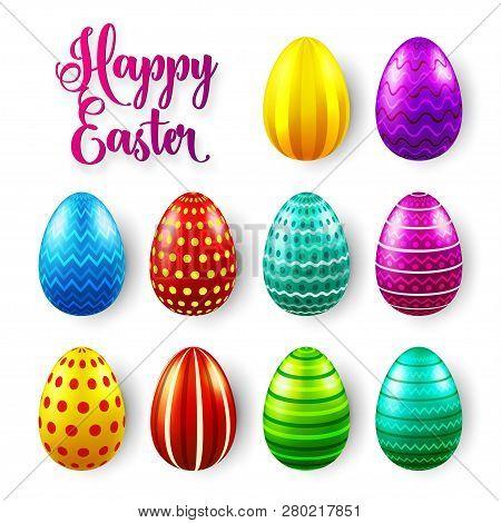 Easter Eggs Colored Set. Spring Holidays In April. Gift. Seasonal Celebration.egg Hunt Sunday.