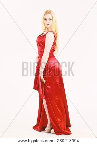 Lady Rented Fashionable Dress For Visiting Event. Dress Rent Service, Fashion Industry. Girl Blonde