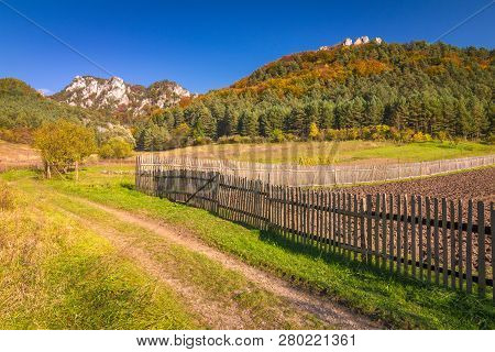Colorful Rural Landscape In Autumn, The Sulov Rocks National Nature Reserve, Slovakia, Europe.