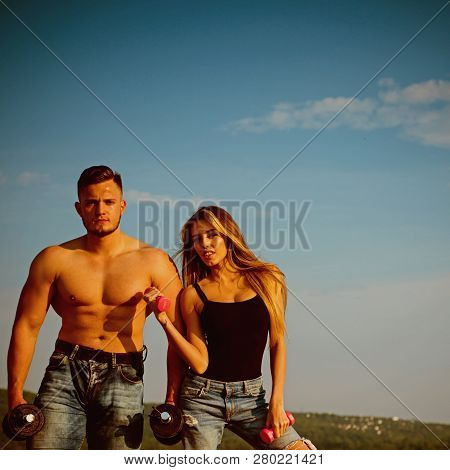 Muscle Building And Bodybuilding. Muscle Building Exercises With Dumbbells For Man And Woman. Muscle