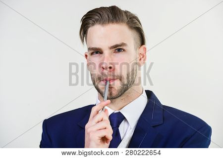Man Well Groomed Business Formal Suit White Background. Individual Entrepreneur Business. Business M