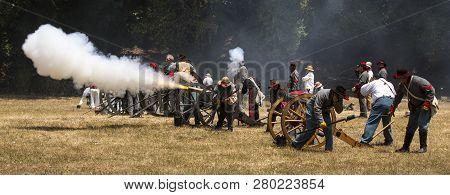Duncan Mills, Calif - July 14, 2012: Men Fire Canon During Civil War Reenactment