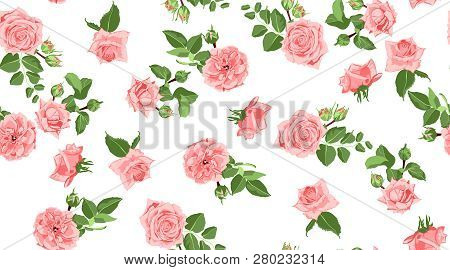 Seamless Flower Pattern. Vintage Watercolor Roses With Green Leaves. Floral Decorative Seamless Back