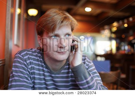 Man Has Conversation By Phone