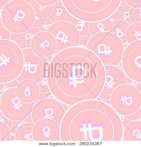 Russian Ruble Copper Coins Seamless Pattern. Fresh Scattered Pink Rub Coins. Success Concept. Russia
