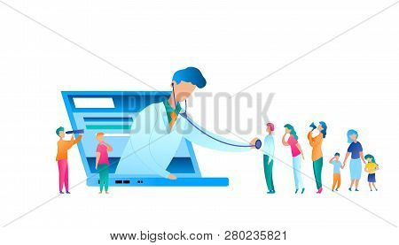 Vector Doctor Examining Patient Using Stethoscope. Flat Illustration Online Medical Consultation. Ma