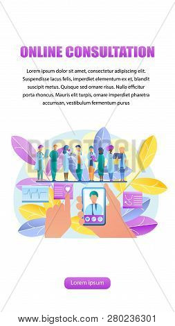 Vector Illustration Online Consultation Doctor. Vertical Banner Image Group Doctor Stand In Row. Han