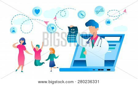Illustration Happy Family Recovered from Illness. Vector Doctor White Medical Gown Lifted Thumb Up, from Laptop Monitor Screen Stretches Certificate Recovery. Mom with Son and Daughter Jumping for Joy poster