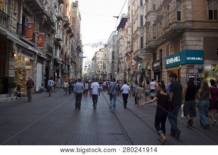 Istanbul, Turkey - August 1: People Walking On Istiklal Avenue, August 1, 2011 In Istanbul, Turkey.