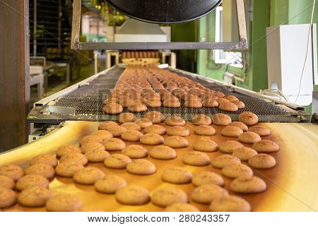 Bakery Production Line Or With Fresh Sweet Cookies On Conveyor Belt. Equipment Machinery In Confecti