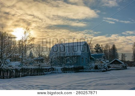 Maslovo Village, Lezhnevsky District, Ivanovo Region, Russia - December 29, 2018: Village Landscape