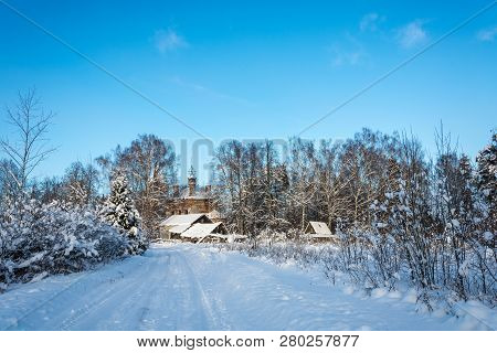 Country Landscape With A Ruined Church On A Frosty Winter Day.