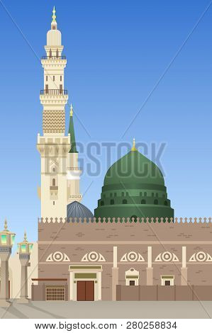 A Vector Illustration Of Al-masjid An-nabawi Mosque In Medina