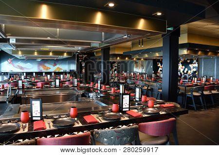 San Diego, California - Oct 24: Teppanyaki Restaurant Aboard The Norwegian Bliss Cruise Ship, Docked