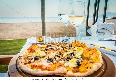 Pizza And Wine. Sea Vacation. Delicious Food For Lunch