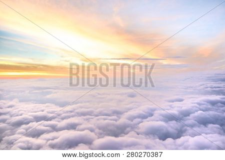 Sunny Sky Abstract Background,beautiful Cloudscape On The Atmosphere Heaven.scenic View Sunrise Over
