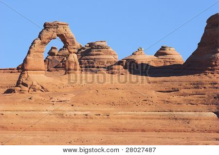 Delicate arch. Freakish formations from red sandstone in National park in the USA