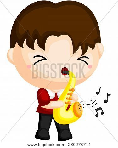 A Saxophone Player Playing With His Instrument
