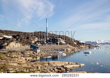 Ilulissat, Greenland - July 1, 2018: Exterior View Of The Power Station. Ilulissat, Formerly Jakobsh