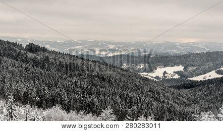 Scenery Of Winter Kysuce Region In Slovakia From Hiking Trail Near Cubonov Hill In Moravskoslezske B