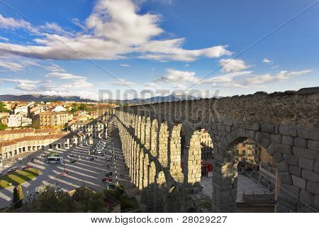 Modern Segovia and ancient Roman aqueduct