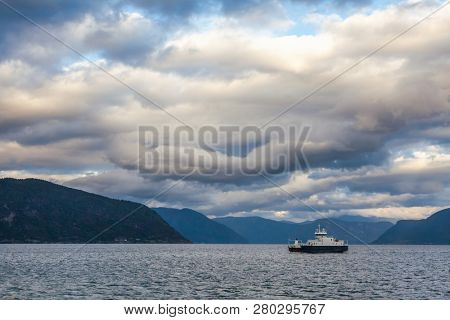 Ferry crossing Sognefjord, the largest and deepest fjord in Norway. Vik municipality, Sogn og Fjordane, Norway, Scandinavia