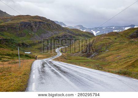 Scenic twisty mountain road, Vik, Sogn og Fjordane, Norway, Scandinavia
