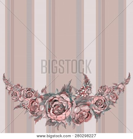 Seamless Frieze Pattern With Watercolor Flowers. Vector Illustration.