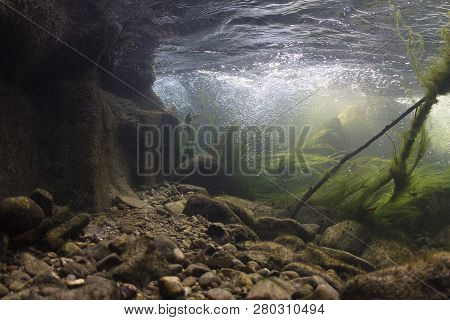 Rocks Underwater On Riverbed With Clear Freshwater. River Habitat. Underwater Landscape. Mountain Ri