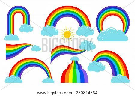 Colored Rainbows With Clouds Collection. Rainbow In Sky, Weather Cloud, Vector Illustration