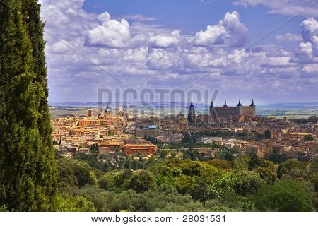 Panorama of ancient city Toledo in fine May midday