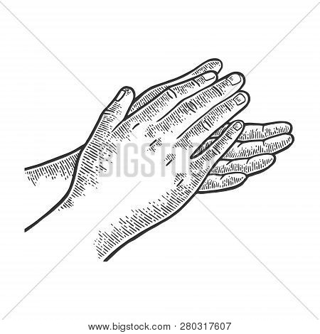 Applause Clapping Hands Engraving Vector Illustration. Scratch Board Style Imitation. Hand Drawn Ima