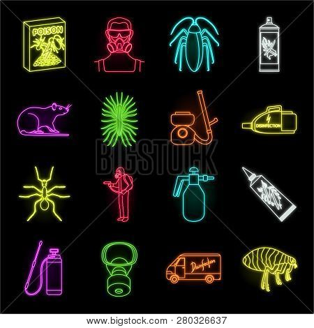 Pest, Poison, Personnel And Equipment Neon Icons In Set Collection For Design. Pest Control Service